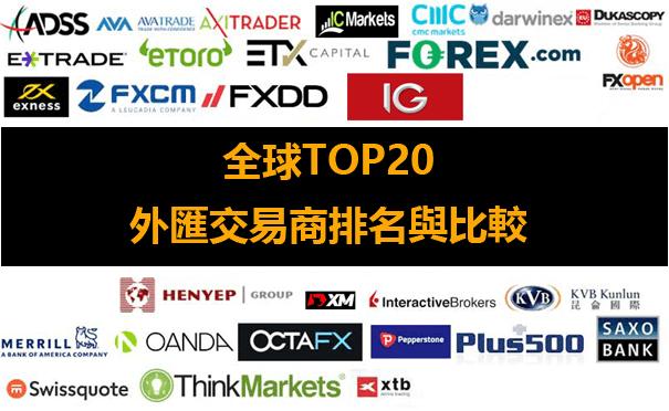 全球Top20外匯交易平台排名(外匯交易商比較與推薦)